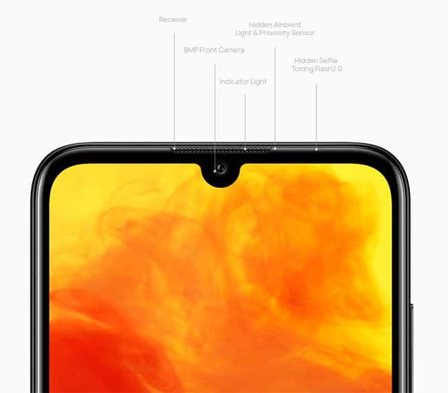 Huawei Y6 2019 přináší malý zářez pro přední fotoaparát, který je dodáván se skrytým bleskem