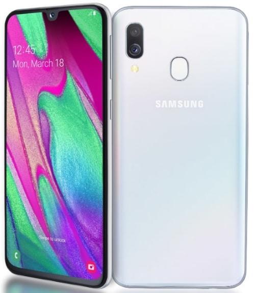 Samsung Galaxy A40 má duální hlavní fotoaparát a 25 MP selfie fotoaparát